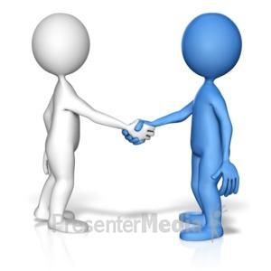 ID# 12120 - Stick Figure Handshake Standout - Presentation Clipart
