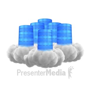 ID# 12137 - Multiple Cloud Database - Presentation Clipart