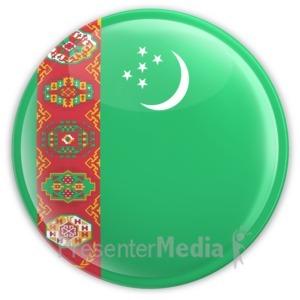 ID# 12147 - Turkmenistan Badge - Presentation Clipart