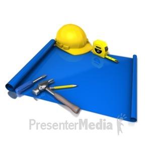 ID# 12167 - Blank Blue Print Tools - Presentation Clipart