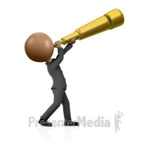 ID# 12212 - Busniess Man Telescope - Presentation Clipart