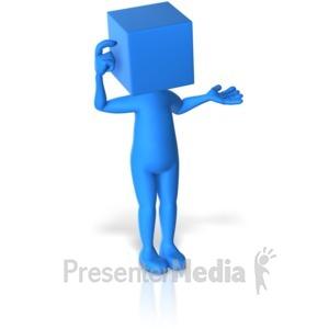 ID# 12245 - Blockhead Thinking - Presentation Clipart