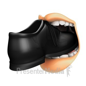 ID# 12263 - Put Foot In Mouth - Presentation Clipart