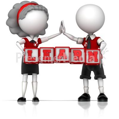 School Children Holding Learn Blocks PowerPoint Clip Art