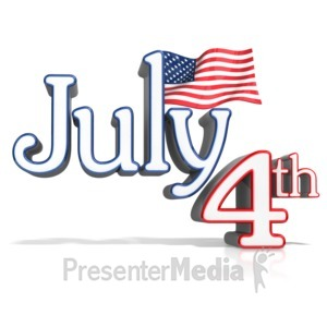 ID# 12278 - July 4th Text With Flag - Presentation Clipart