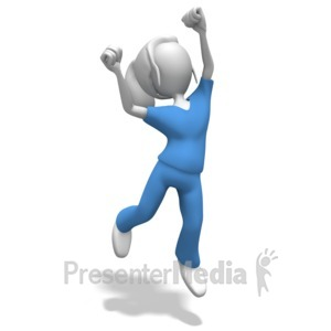 ID# 12284 - Woman Nurse or Doctor Jumping Celebratio - Presentation Clipart