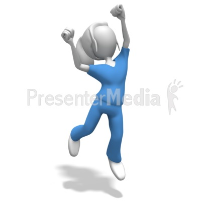 Woman Nurse or Doctor Jumping Celebratio PowerPoint Clip Art