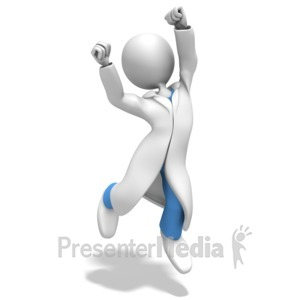 ID# 12286 - Doctor or Nurse Jumping Celebration - Presentation Clipart