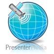 ID# 12305 - Satellite Signal Globe - Presentation Clipart