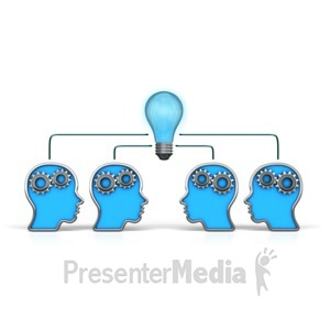 ID# 12328 - Outline Heads Teamwork Idea - Presentation Clipart