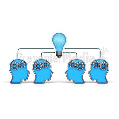 Outline Heads Teamwork Idea PowerPoint Clip Art