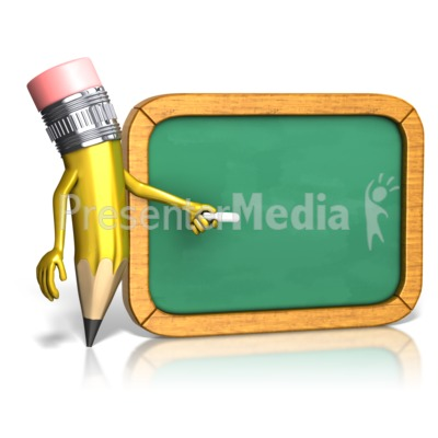 Pencil And Chalkboard PowerPoint Clip Art