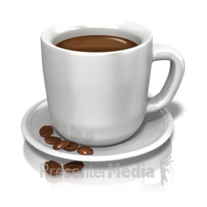 ID# 12345 - Coffee Cup Beans - Presentation Clipart