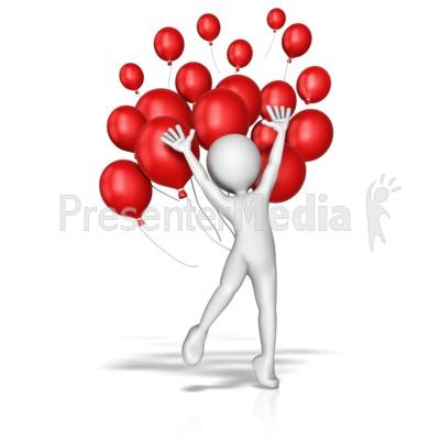 Balloon Jump Celebration PowerPoint Clip Art