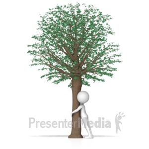 ID# 12382 - Figure Tree Hugger - Presentation Clipart