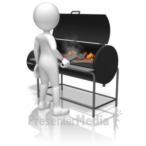 ID# 12417 - Stick Figure Grilling - Presentation Clipart