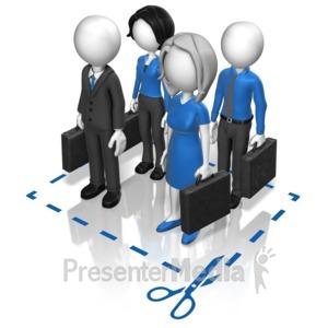 ID# 12450 - Business Team Cut Here - Presentation Clipart