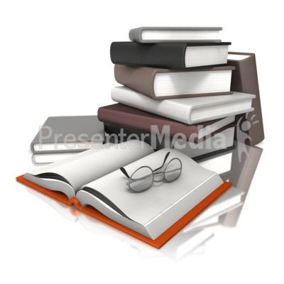 Books With Glasses PowerPoint Clip Art