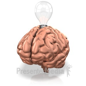 ID# 12484 - Lightbulb In Brain - Presentation Clipart