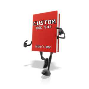 ID# 12485 - Custom Book Character Pointing At Title - Presentation Clipart