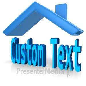 ID# 12489 - Custom Text With Roof - Presentation Clipart