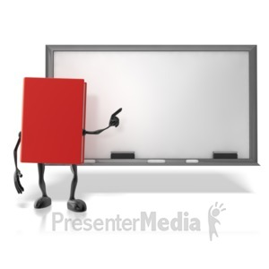 ID# 12494 - Book At Chalk Board - Presentation Clipart