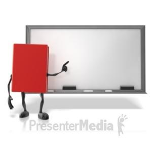 ID# 12494 - Book At Chalk Board - Presentation Clipart