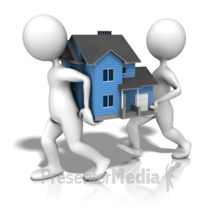 ID# 12497 - Figures Carrying House - Presentation Clipart