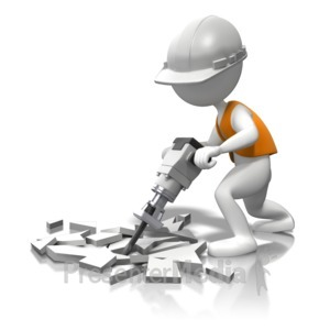 ID# 12510 - White Hard Hat Jackhammer The Concrete - Presentation Clipart