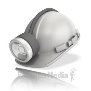 ID# 12515 - Miner White Hardhat - Presentation Clipart