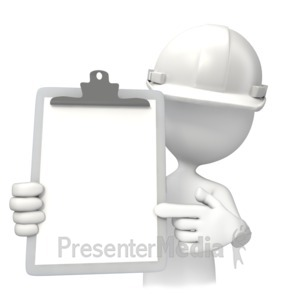 ID# 12518 - Construction White Hardhat With Clipboar - Presentation Clipart