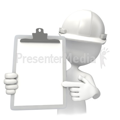 Construction White Hardhat With Clipboar PowerPoint Clip Art