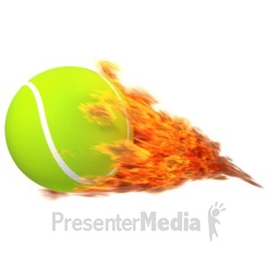 ID# 12565 - Tennisball Flaming - Presentation Clipart