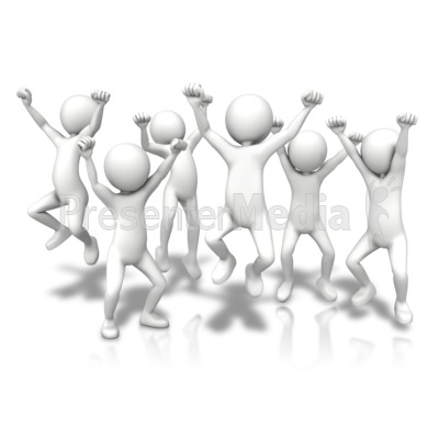 Group Jumping Up PowerPoint Clip Art