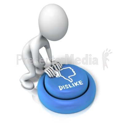 Figure Pushing Dislike Button PowerPoint Clip Art