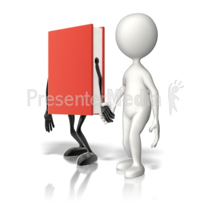 Book Holding Hands With Stick Figure PowerPoint Clip Art