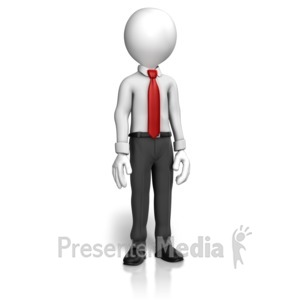 ID# 12612 - Man Shirt Tie Standing - Presentation Clipart