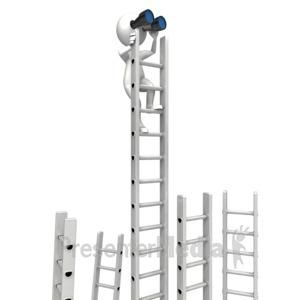 ID# 12620 - Climbing Corporate Ladder With Binocular - Presentation Clipart