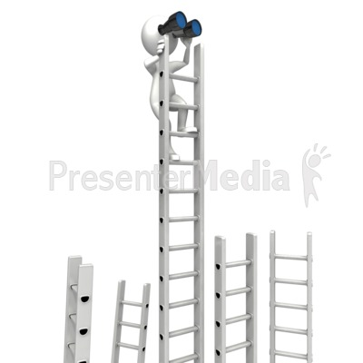 Climbing Corporate Ladder With Binocular PowerPoint Clip Art