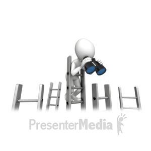ID# 12623 - Climbing Corporate Ladder With Binocular - Presentation Clipart