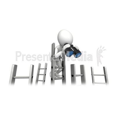 Climbing Corporate Ladder With Binocular PowerPoint Clip Art