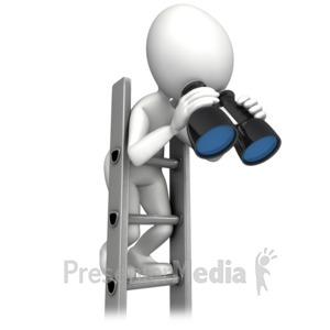 ID# 12625 - Climbing Corperate Ladder With Binocular - Presentation Clipart