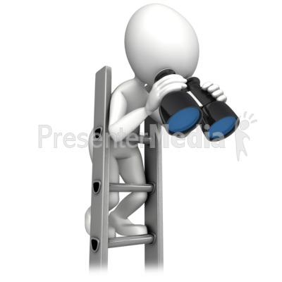 Climbing Corperate Ladder With Binocular PowerPoint Clip Art
