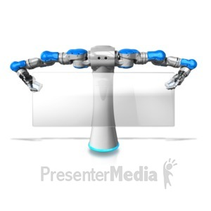 ID# 12626 - Robot Holding Glass Pane Sign - Presentation Clipart