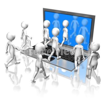 Figures Walk Into Computer PowerPoint Clip Art