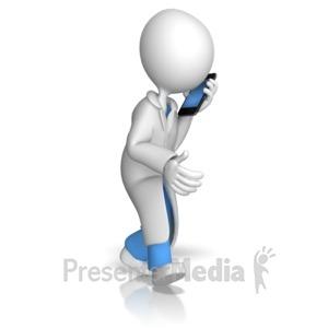 ID# 12753 - Doctor or Nurse Talking On Phone - Presentation Clipart