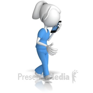 ID# 12757 - Nurse Talking On Phone - Presentation Clipart