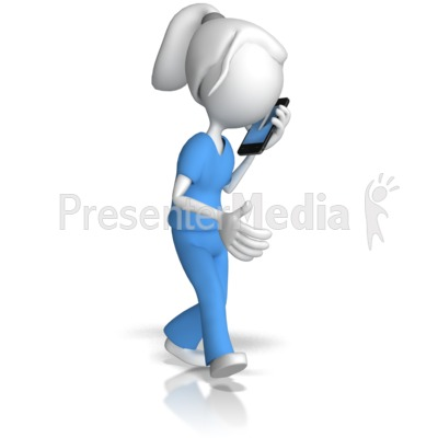 Nurse Talking On Phone PowerPoint Clip Art
