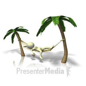 ID# 12789 - Figure Relaxing In Hammock - Presentation Clipart