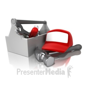 ID# 12793 - Toolbox Rack And Hat - Presentation Clipart